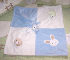 Blankets and Beyond Blue Plush Puppy Dog Frog Bunny Bear Baby Security Blanket