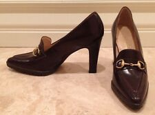 GUCCI Dk Brown Gold Horse Bit Equestrian Heels Treaded Sole 5.5 M Italy Worn 2x