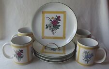 "4 PRETTY CROSCILL ""BOTANICAL GARDEN"" CHINA MUGS AND PLATES BREAKFAST SET"