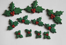 Holly Jolly Buttons / Christmas Holly Flat Back Buttons / Jesse James Holiday
