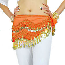 New Chiffon Belly Dance Hip Scarf 3 Rows Coin Belt Skirt TSUS