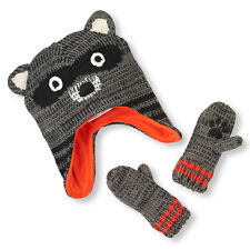 Toddler Boys Raccoon Knit Hat And Mittens Set size L (4T-5T)