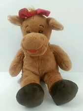 "Build A Bear Holly Girl Moose 16"" Red Bow Holiday Christmas Stuffed Plush Toy"