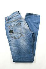 Bikkembergs Light Blue Distressed Straight Leg Jeans Pants Size 31