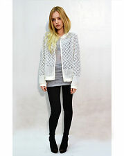 Lady embroidered snowflake lace pattern black white color bomber jacket cardigan