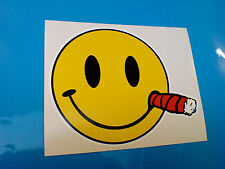SMILEY CIGAR Car Bumper Van Motorcycle Kart Sticker Decal 1 off 120mm