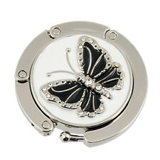 Black Butterfly Accent Round Folding Hook Handbag Table Hanger N*