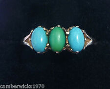 Antique Art Deco 9ct Gold Blue & Green Turquoise Three Stone Ring, Size Q