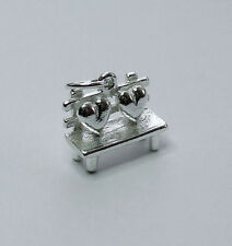 LOVE SEAT LOVERS BENCH HEARTS VALENTINE 3D CHARM 925 STERLING SILVER