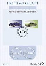 BRD 2016: Porsche e Ford solo tag foglio N. 3201+3202 con timbro Bonner! 1603
