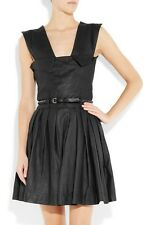 NEW £1190 Preen Line Simone black pleated leather dress M