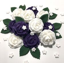 Purple & White Wedding Flowers Roses Bouquet Edible Cake Decorations Toppers