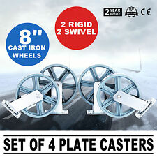 4 HEAVY DUTY 200MM 1600KG CASTOR WHEELS CASTER CAST IRON INDUSTRIAL FURNITURE