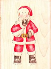 Santa-jolly nation-wood mounted rubber stamp