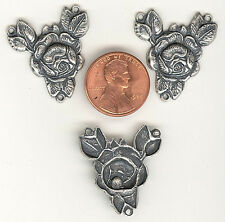3 SILVER OX CABBAGE ROSE CONNECTORS W/3LOOPS 26mm#ST150