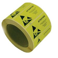 50x Yellow ESD Caution Labels Antistat 50 x 25mm Anti-static Warning Stickers