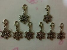 8 Silver Tone Colour Snowflake Clip On Charms For Bracelets/Necklaces