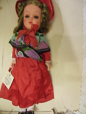 "11"" celluloid Biedermeier age girl doll with tag"