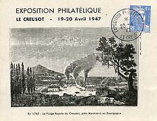 CARTE POSTALE / EXPOSITION PHILATELIQUE LE CREUSOT 1947
