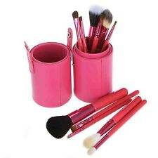 Pink Leather Cup 12 Make Up  Brushes Cup Set Goat /Pony /Synthetic Hair