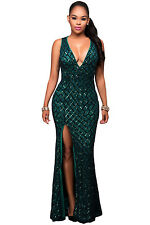 New Green Gold Sequins Key Hole Back Cocktail Prom Evening Dress Size UK 10-12
