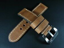 SV 24mm Vintage Brown Cracked Cow Leather Strap Band + Buckle for Panerai Watch