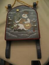 SWEET HOMEMADE/HANDPAINTED  WOODEN SLED WITH SNOWMAN PLAQUE - CUTE