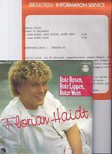 """Florian Haidt, Rot Rosen, Rote Lippen, ..., Promo Info, VG+/EX 7"""" Single 0875-9"""
