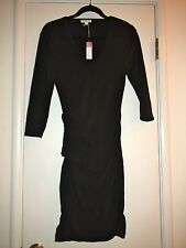 James Perse Skinny Tucked Black ¾ Sleeve Dress Sz 2 $225 NWT