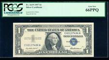 Ac 1957 $1 Silver Certificate Pcgs 66 Ppq Gem Fr 1619 C-A block