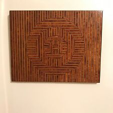 Vintage MCM 60's 70's Op Art Space Age Inlaid Wood Marquetry Wall Sculpture
