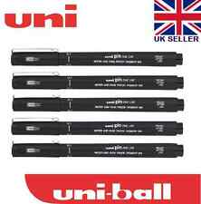 5 x UNI PIN DRAWING PEN FINELINER ULTRA FINE LINE MARKER IN BLACK 0.1 Line Width