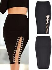 NEW SEXY BLACK GOLD CHAIN SIDE SLIT PENCIL SKIRT SIZE AVAILABLE UK 8-10-12-14