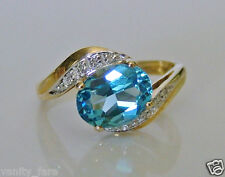 Beautiful 9ct Gold Blue Topaz & Diamond Ring Size J