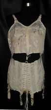 ~ Vintage Interesting SPENCER Open Bottom Brocade Corset Girdle Longline Bra 38