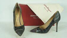 Salvatore Ferragamo Susi 100 Croc Pointy Toe Pump US 7B NIB $725