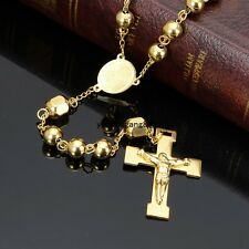 Cool New Men's 18K Gold Tone Stainless Steel Ball Handmade Rosary Chain Necklace