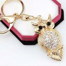 Hot High-grade Platinum Plating Owl Rhinestone Keychain Bag Pendant Car Key Ring