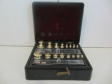VINTAGE ANTIQUE 16 PC COMBINATION OHAUS BRASS SCALE WEIGHT SET   #1