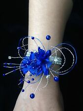 Wedding Prom Wrist Corsage Royal Blue On Diamond Bracelet ( Made To Order )