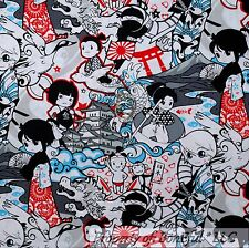 BonEful FABRIC FQ Cotton Quilt B&W Red Anime Japan Ninja Flower Boy Cartoon Flag