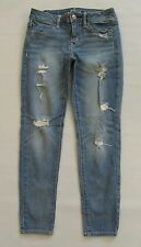 "American Eagle Jeans 8 AEO Jegging Crop Cropped 27"" Light Destroyed Stretch 2013"