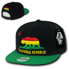 California Republic RASTA SNAPBACK Hat vtg 3D CALI BEAR Flat Bill Cap jamaican