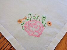 Pretty Hand Embroidered Vintage Linen Rose Motif Tea Cloth Tablecloth 31.75 x 34
