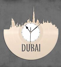 Dubai Skyline Vinyl Wall Clock, Cityscape Clock, Unique Large Wall Clock
