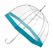 TOTES BUBBLE CLEAR DOME MANUAL WITH TURQUOISE TRIM UMBRELLA NWT