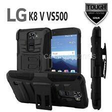 BLACK REFINED ARMOR PHONE CASE & SWIVEL BELT CLIP HOLSTER FOR LG K8 V VS500