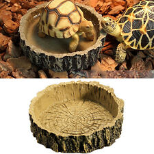 Reptile Tortoise Water Dish Food Bowl Toy For Amphibians Gecko Snakes Lizard New