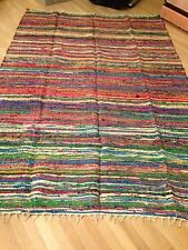 6X9 Pure Silk Rag Rug India Machine Washable Multi Color Green Blue Yellow Etc.