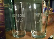 Two INFIDEL Engraved Glasses